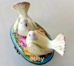 Limoges France Love Birds Trinket Box Hand Painted/signed Bin