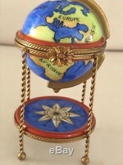Limoges France- Marque Deposee Paint Main Globe/Compass Porcelain Trinket box