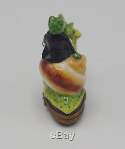 Limoges France Parry Vieille Porcelain Frog Riding Snail Box Very Rare