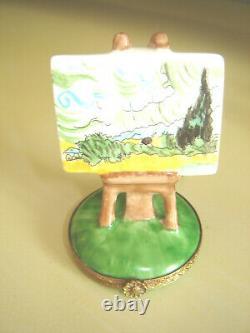 Limoges France Peint Main 3 Vintage Painting On Easel Trinket Box