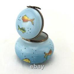 Limoges France Peint Main Aquarium Tropical Fish Bowl Trinket Box