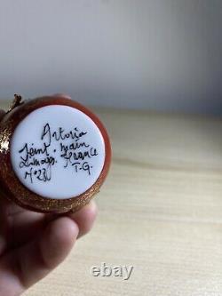 Limoges France Peint Main Artist Signed FOX Trinket Box