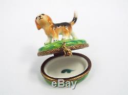 Limoges France Peint Main Beagle Puppy Dog Trinket Box, Limited Edition #285/300