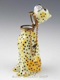 Limoges France Peint Main Chamart CHEETAH CAT WITH CHAIN COLLAR Trinket Box Mint