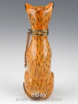 Limoges France Peint Main Chamart LEOPARD BIG CAT WITH CHAIN Trinket Box Mint