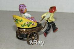 Limoges France Peint Main Chanille Signed Rickshaw Porcelain Trinket Pill Box