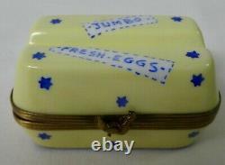 Limoges France Peint Main Egg Carton Box Jumbo Fresh Eggs Eximious