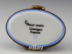 Limoges France Peint Main HEREND BLUE FISHNET SWAN GOOSE Trinket Box Mint
