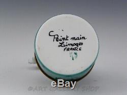 Limoges France Peint Main HEREND GREEN FISHNET ELEPHANT TRUNK UP Trinket Box