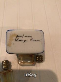 Limoges France Peint Main Hand Painted Hinged Trinket Box with 2 Perfume Bottles