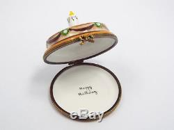 Limoges France Peint Main Happy Birthday Cake with Candle Trinket Box, #294/300