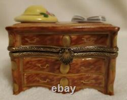 Limoges France Peint Main Hat Book Dresser Porcelain Trinket Box