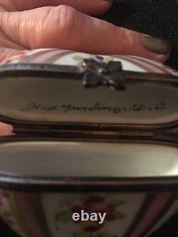 Limoges France Peint Main Heart Shaped Trinket Box