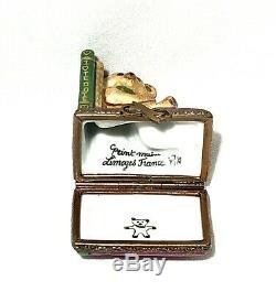 Limoges France Peint Main I Love Teddie Teddy Bear Hinged Trinket Box