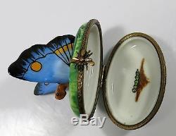 Limoges France Peint Main LAGLORIETTE Butterfly Trinket/Pill Box