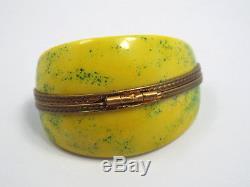 Limoges France Peint Main Lemon Slice Wedge Trinket Box, Limited Ed #290/300