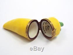 Limoges France Peint Main Long Yellow Chili Pepper Trinket Box, Ltd Ed #225/300