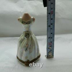 Limoges France Peint Main Mannequin Box Mop Iridescent Floral Lace Gown Rare