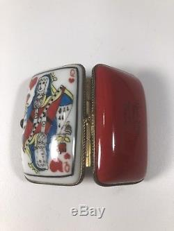 Limoges France Peint Main Playing Card Queen of Hearts Trinket Box