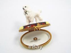Limoges France Peint Main Poodle Dog Trinket Box, Limited Edition #119/750