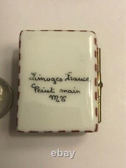Limoges France Peint Main Porcelain Trinket Box Blue Ribbon Desserts Picnic Rare