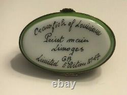 Limoges France Peint Main Porcelain Trinket Box Crawfish of LA #17 Signed GR