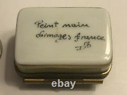 Limoges France Peint Main Porcelain Trinket Box Fruit Basket Flower Clasp Signed