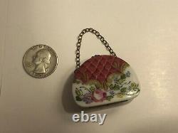Limoges France Peint Main Porcelain Trinket Box Purse Handbag Luggage Signed Ngc