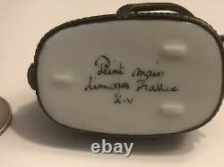 Limoges France Peint Main Porcelain Trinket Box Yellow Bumper Car #06 Signed LV