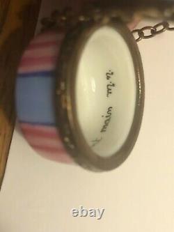 Limoges France Peint Main Porcelain Trinket Hat Box Luggage Signed Pink Signed