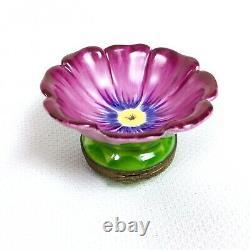 Limoges France Peint Main Purple Morning Glory Flower Porccelain Trinket Box