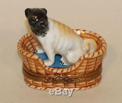 Limoges France Peint Main RAP Trinket Box Pug Puppy Dog in Wicker Bed