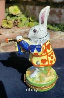 Limoges France Peint Main Rochard Alice in Wonderland Rabbit Hinged Trinket Box