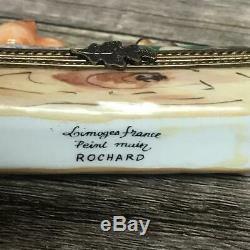Limoges France Peint Main Rochard Birds Winter Holly Berries Wood Trinket Box