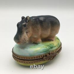 Limoges France Peint Main Rochard Porcelain Hippo By The Waterfront Trinket Box