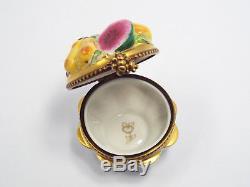 Limoges France Peint Main Romance Fruit Bowl Trinket Box, Limited Edition #44/50