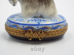 Limoges France Peint Main Scottish Terrier Dog with Bone Trinket Box, #288/300