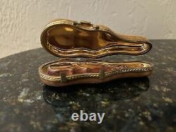 Limoges France Peint Main Signed Violin Trinket Box