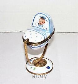 Limoges France Peint Main Trinket Box Baby Boy Rocking Cradle