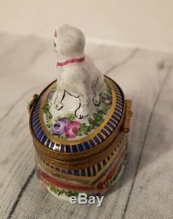 Limoges France Peint Main Trinket Box Cat Hinged