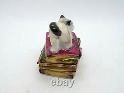 Limoges France Peint Main Trinket Box Cat on Books
