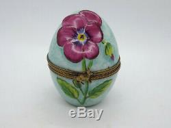 Limoges France Peint Main Trinket Box Flower Egg with Bunny Rabbit #206/300