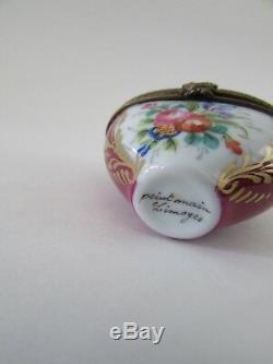 Limoges France Peint Mein Love Potion Rose Valentine Heart Trinket Box