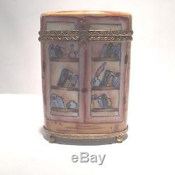 Limoges France Peint a la main BOOKCASE WITH BOOKS Rare Hinged Trinket Box