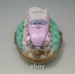 Limoges France Pink Volkswagen Convertible Beetle Pill Box Scarce