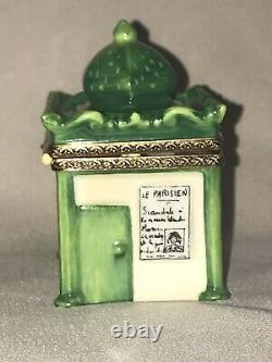Limoges France Porcelain Floral Paris News Stand with Eiffel Tower Trinket Box