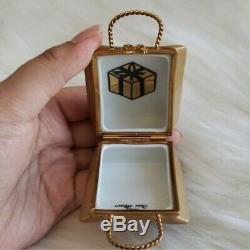 Limoges France Porcelain Little Brown Bag Trinket Box