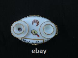 Limoges France Porcelain Tea Cart Trinket Box Cup Saucers Hotel Paris