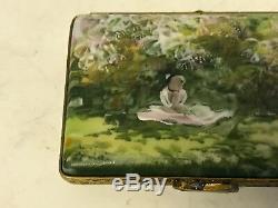 Limoges France Porcelain Trinket Box Claude Monet Le Repos Sous Les Lilas Lilacs