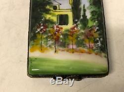 Limoges France Porcelain Trinket Box Monet Blossoming Garden Jardin en Fleurs